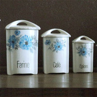 Shabby Chic Vintage French Set of Storage Canisters