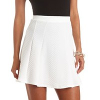 Chevron-Textured High-Waisted Skater Skirt by Charlotte Russe - White