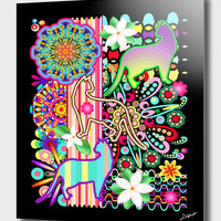 «Mandalas, Cats and Flowers Fantasy Patchwork», Numbered Edition Aluminum Print by BluedarkArt Lem - From 55€ - Curioos