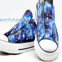 Just Fall in Love with Galaxy Design-Blue Galaxy Converse Sneakers Low Cut
