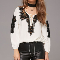 Lace-Up Embroidered Top