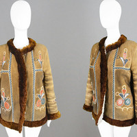 Vintage 70s Afghan Coat Womens Sheepskin Coat Fall Winter Coat Shearling Jacket Leather Applique Mirrorwork Jacket Boho Hippie Coat 1970s