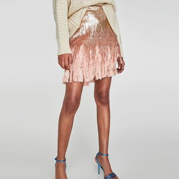 CONTRASTING SEQUINNED MINI SKIRT