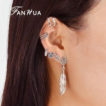 FANHUA 6 pcs/set Ethnic Bohemia Silver Color Jewelry Ear Clip Stud Earring Geometric Feather Leaf Owl Earrings For Women
