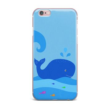 "Cristina Bianco Design ""Blue Whale"" Blue Yellow iPhone Case"