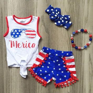 Merica Flag Glasses Outfit Star Pom Top And Shorts