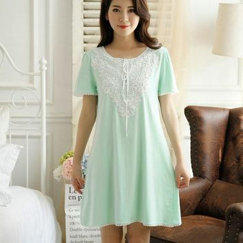 Lisacmvpnel 2016 New Summer style Short paragraph cotton elegant women nightgown O-Neck lace short sleeve women nightdress