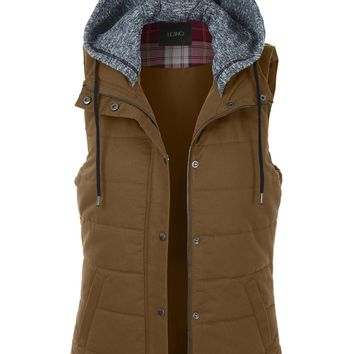 LE3NO Womens Quilted Padded Sleeveless Puffer Vest