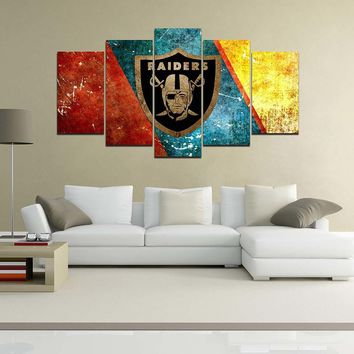 5 Pannel Giclee Canvas Prints Wall Decor Oakland Raiders Logo Painting, Home Decor Football Sport Pictures Artwork