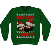 Cheech & Chong Men's  Merry Juana Ugly Xmas Sweatshirt Green