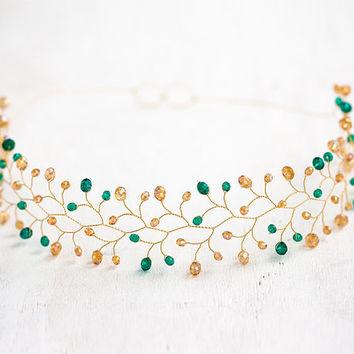 Gold wedding, gold emerald hair accessories, gold wedding circlet, emerald crystal head piece, adult headband woman, green gold wedding