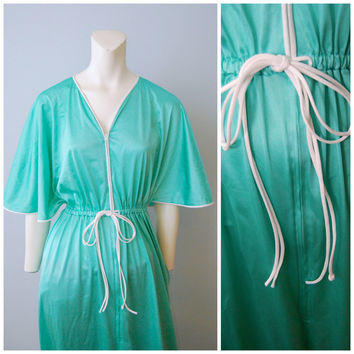 Vintage 1970's Vanity Fair Teal Aqua Turquoise Zip-Up Nightgown Robe with Short Bell Sleeves, V-Neck, White Piping and Bow Size Small Long