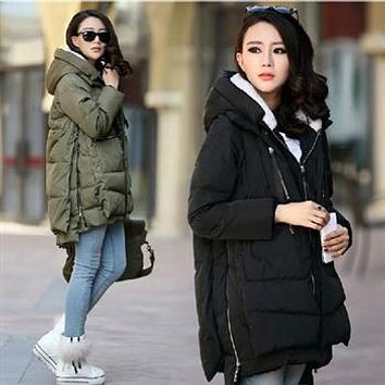 2017 New Fashion Winter Women's Down Jacket Military Parka Coat Medium-long Thick Female Hooded Wadded Outerwear Casual Warm