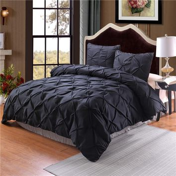 Luxury Duvet Cover Set Black/Grey Pinch Pleat 2/3pcs Twin/Queen/King Bedding Sets (No filling,No sheet)