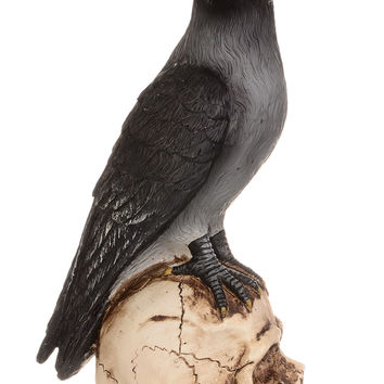 Nevermore Raven and Skull Statue