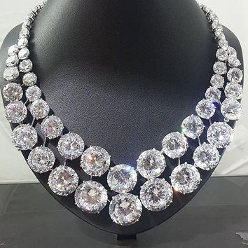 The Elizabeth Taylor, A 128TCW Round Cut Russian Lab Diamond Necklace