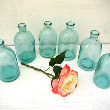 Set of 6 Clear Vintage Glass Bottles Apothecary Medicine Antique Bottles Soviet Vintage Bottles Wedding decor Flower vase Rustic bride