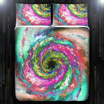 Whirlpool Hurricane Spiral Galaxy Duvet Cover Bedding Queen Size King Twin Blanket Sheet Full Double Comforter Toddler Daybed Kid Teen Dorm
