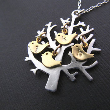 Personalized Mothers Jewelry Necklace, FAMILY TREE  Necklace, UP to 4 Birds Tree of Life Branch Initials Children Mom Baby Shower Gifts