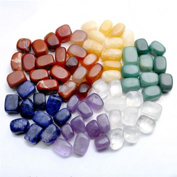 Set of 7 Chakras Crystal Healing Tumbled Natural Stones And Minerals Irregular Shape 15mm-25mm Crystals Decoration With Gift Box