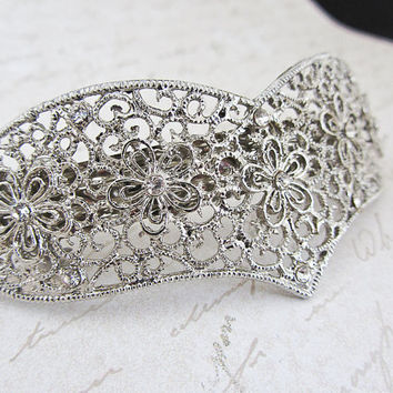 Silver Barrette Rhinestone filigree heart large Bridal Barrette Wedding hair