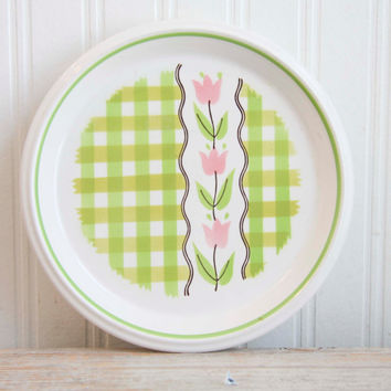 Vintage Mikasa Plate -Country Gingham Mint Taffy