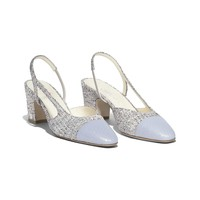 Tweed Beige, Silver & Gray Slingbacks | CHANEL