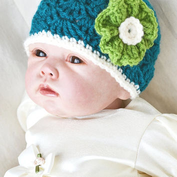 Baby Girl Newborn crochet Shell Pattern Teal Green Spring Hat Summer Hat Flower Beanie Hat Photo Prop Hat