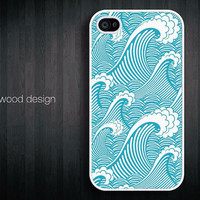 blue sea wave  iphone Case for iphone 4 case iphone 4s case iphone 4 cover graphic design printing