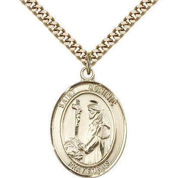 "Saint Dominic De Guzman Medal For Men - Gold Filled Necklace On 24"" Chain - 3... 617759791563"