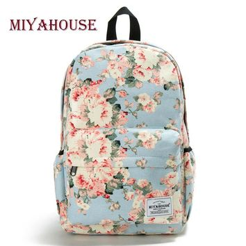 Miyahouse Fresh Style Women Backpacks Floral Print Bookbags Canv 5b74f014c756f