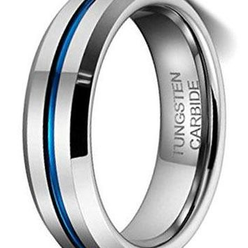 CERTIFIED 6MM Thin Blue Line Plated Groove Tungsten Carbide Ring Wedding Band