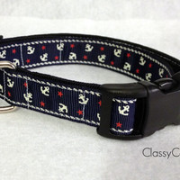 Navy Nautical Anchors Dog Collar