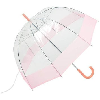 """All-Weather 42"""" Clear Dome Bubble Umbrella (Pink/Clear)"""