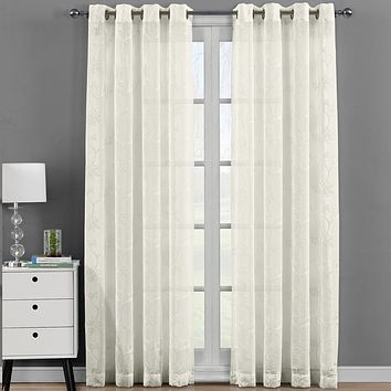 Andora Embroidered Grommet Top Sheer Panel Curtain Set (Set of 2 )