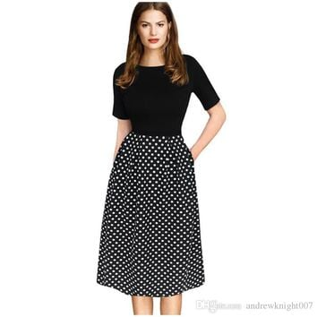 Womens Elegant Vintage Autumn Winter Polka Dot Belted Tunic Pinup Work Office Casual Party A Line Skater Dress DK3014MX