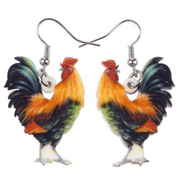 Drop Chicken Earrings Acrylic Pattern Big Long Danlge Brand Earrings Charm Animal New Fashion Jewelry For Women