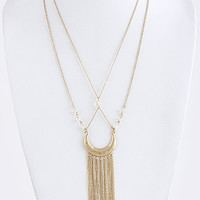 Faux Stone Accent Draped Chain Crescent Necklace
