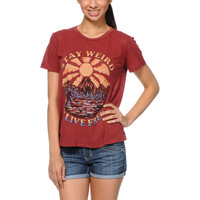 Obey Stay Weird Red Back Alley Tee Shirt at Zumiez : PDP