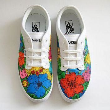 CREYONS Custom Vans Atwood Shoes - White Sneakers with Colorful Flowers