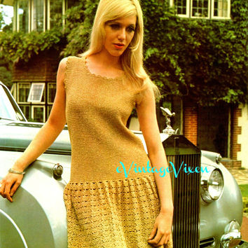 London Lady in Gold Instant Download 1970s MOD Mini Dress Vintage Crochet Pattern Clubbing Dress Crochet Pattern Sexy Crochet Festival Dress