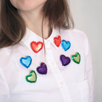 Double Heart Brooch, Collar Sequin Brooches, Sparkle Sequin Pins, Girly Felt Embroidery, Minimalistic kawaii Jewelry, Colorful Bright Collar