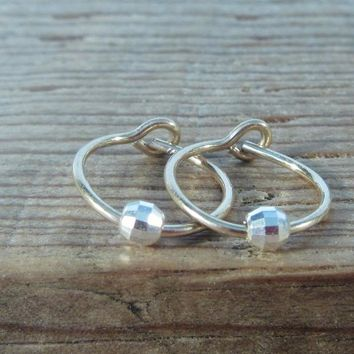 Tiny Hoop Earrings Gold with Silver Mirror Cut Bead