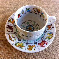 "Astrology, Fortune Telling, Tea Cup by ""International Collectors Guild.Ltd., Fine China,  Tasseography. 1985"