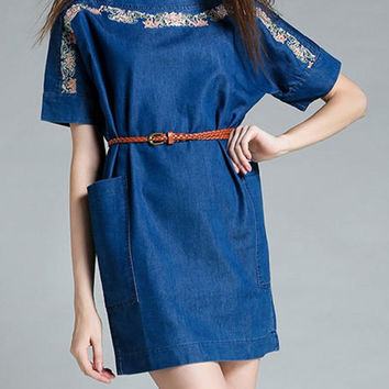 Embroidered Loose Fitting Denim Dress
