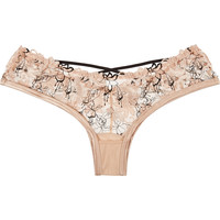 Agent Provocateur - Yoshie floral-embroidered stretch-tulle briefs