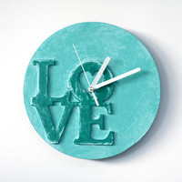 LOVE clock, Modern WALL CLOCK, Mint wall clock, unique office decor, mint home decor, love home decor, cottage chic clock