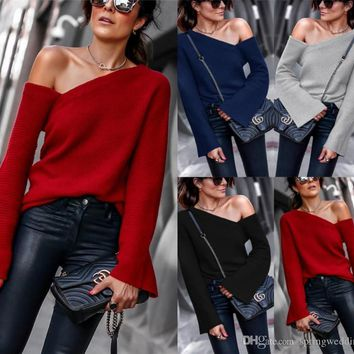 2019 Spring New Fashion Women Sweaters Casual Knitted Long Sleeves Pullovers Sweater Jumper Loose High Quality Woman Solid Clothes FS5329