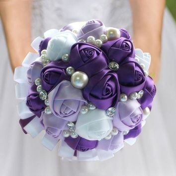 New Romantic Purple White Ribbon Wedding Bouquet Decorative Artificial Rose Wedding Flower Bridal Crystal Pearl Silk