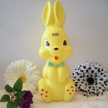 Plastic Bunny Rabbit Bank Easter Home Decor Gifts Children's Bedroom Playroom Nursery Decorating